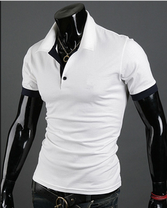 Spring and summer men slim POLO  color contrast stand collar lapel business simple T shirt fashion white m normal