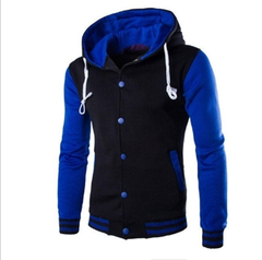 Men's fashion casual multicolor matching multi-pocket cotton hoodie baseball jacket blue m