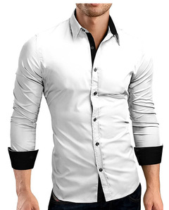 New style long sleeve personality stitching business fashion men's large size plain color shirt white m