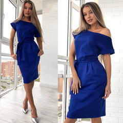 New autumn summer fashion trend sexy round collar high waist European belt pocket dress s blue