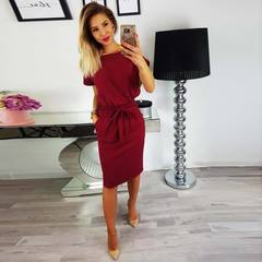 New autumn summer fashion trend sexy round collar high waist European belt pocket dress xxl wine red