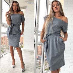 New autumn summer fashion trend sexy round collar high waist European belt pocket dress s gray