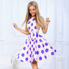 Summer spring and autumn round collar big wave dot sleeveless individual character tide belt dress xl blue