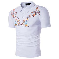 Men's large size european-cotton  fashion personality chest printed lapel short-sleeved T-shirt white m cotton