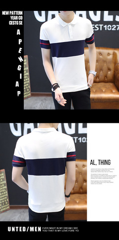 Men's pure cotton POLO shirt short sleeve summer fashion high quality color matching light white m cotton