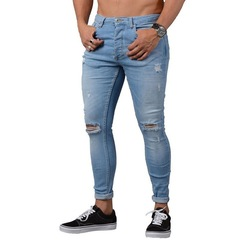 Men's fashion ripped jeans, trousers, leggings blue s