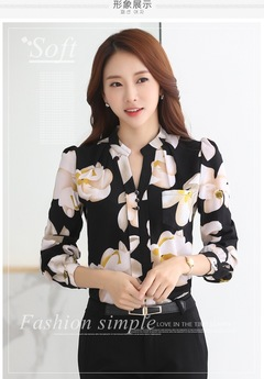 Chiffon shirt women's new spring slim office business party Korean version of long-sleeved jacket black s