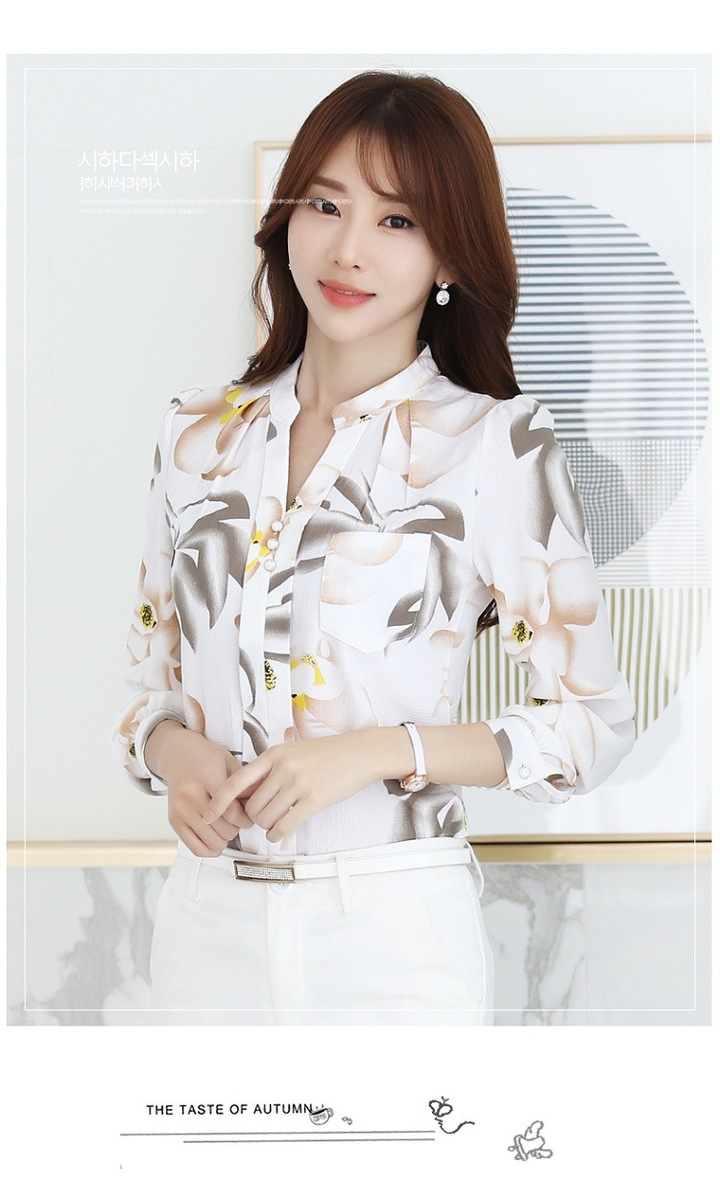 Chiffon shirt women's new spring slim office business party Korean version of long-sleeved jacket white s