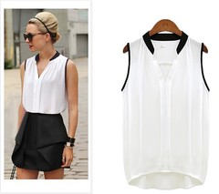 New chiffon shirt sleeveless fashion office party business lady shirt size blouse white l