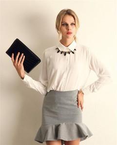 Hot style women's new chiffon shirt fashion party business casual women's long-sleeved shirt white s