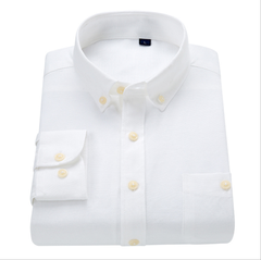 New men's Oxford long sleeve shirt youth fashion versatile business slim shirt without ironing white m