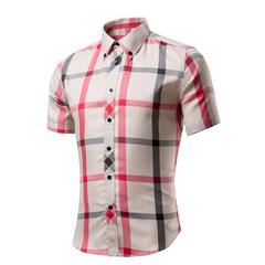 Cotton Printed Short Sleeve Men Shirt Brand Casual  Slim Fit Male Social Business Shirt style 01 m