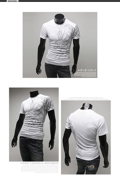 Spring summer men's cotton printed large size round collar plain color casual short-sleeved T-shirt white m cotton