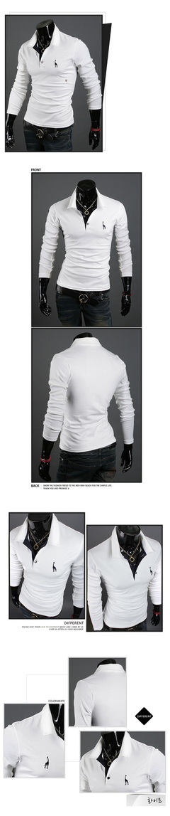 Spring  summer men's shirt pure  stand-up collar cotton spinning deer embroidery long sleeve T-shirt white m