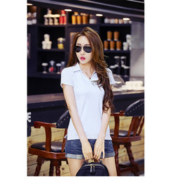 Summer women's new Korean version of pure color slim lapel cotton short sleeve v-neck shirt T shirt white s