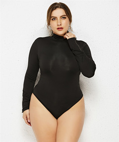 Women's new plum-size solid color leotard, high-necked, long-sleeved, three-piece bodysuit black xl