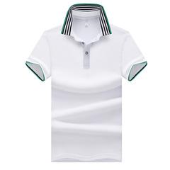 Men's summer cotton T-shirt polo shirt shirt casual business half sleeve V lapel short sleeve white m polyester fiber+cotton