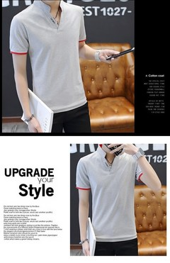 Men's short sleeved T-shirt polo shirt half sleeved T-shirt bottom shirt v collar clothes gray m