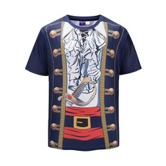 New summer creative vintage swordsman 3D printing T-shirt short sleeve large size fat youth navy m