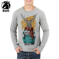 New men's wear cotton base T shirt fashion leisure digital Christmas reindeer youth print T shirt t01 s cotton