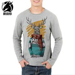 New men's wear cotton base T shirt fashion leisure digital Christmas reindeer youth print T shirt t01 m cotton