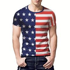 2019 summer new T-shirt creative star stripe printing large size men's short sleeve loose street t01 m