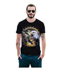 Men's European size new eagle print T-shirt street 3D popular logo jacket summer t01 s