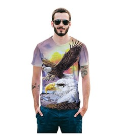 Summer dress new creative digital eagle 3D printing T-shirt size European men's popular logo jacket t01 s