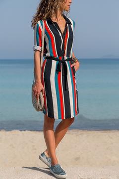 New lapel long sleeve dress shirt skirt stripe loose belt casual office fashion plus belt m 02