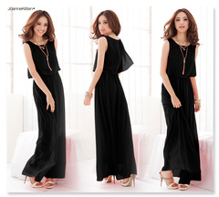 Women's Fashion Elegant Bohemia Style Summer Women Lady Sexy Cool Chiffon Dress Beach Dress xl black
