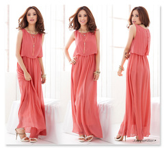 Women's Fashion Elegant Bohemia Style Summer Women Lady Sexy Cool Chiffon Dress Beach Dress s red