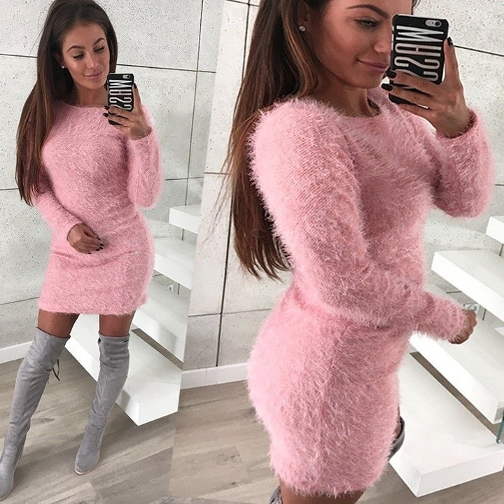 New Fashion Autumn Winter Women Pullovers Women's Casual O-neck Long Sleeve Sweater Female Loose Knitted Sweater Tops Jumper Femme dress
