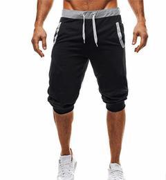Men's leisure sports slimming fitness five jogging pants black l