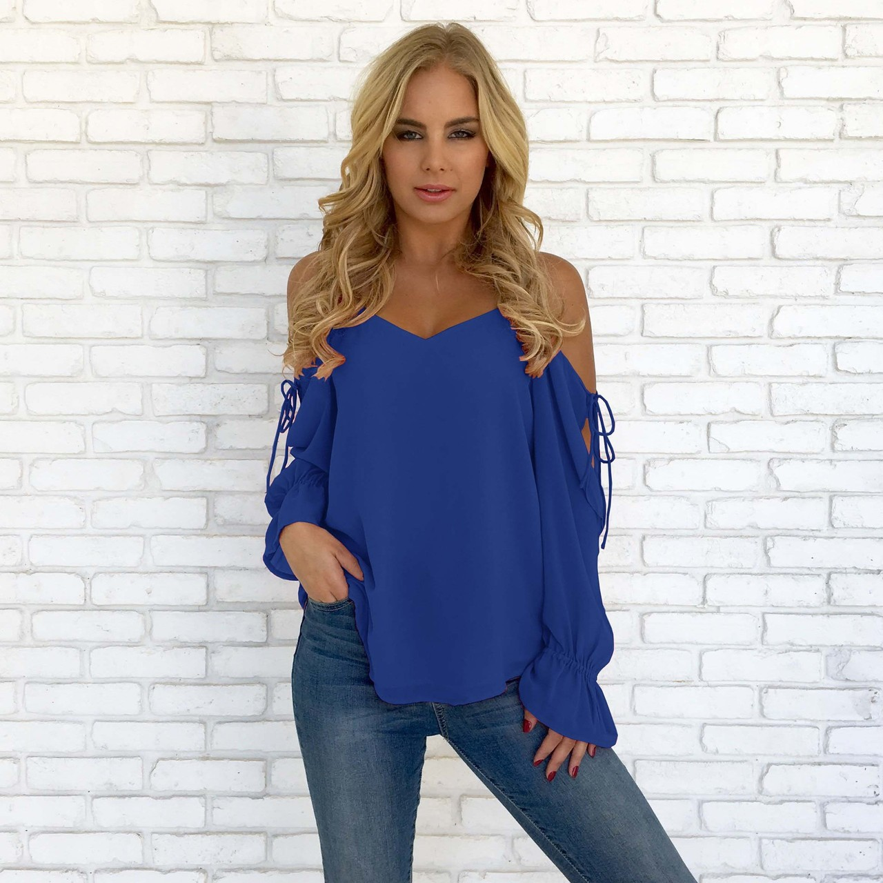 aa37f71cbe6 2019 Spring and Summer Women Sexy Deep V-Neck Shirt Casual Long Sleeve Top  Ladies Fashion Solid Color Loose T-Shirts Off the Shoulder Chiffon Blouse  ...