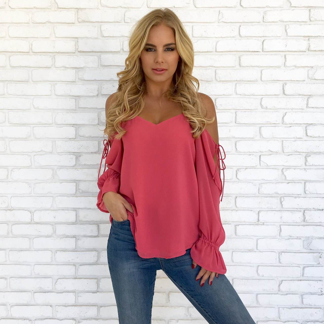 85fa85b930f 2019 Spring and Summer Women Sexy Deep V-Neck Shirt Casual Long Sleeve Top  Ladies Fashion Solid Color Loose T-Shirts Off the Shoulder Chiffon Blouse  Women ...