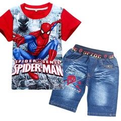 fashion cartoon children summer shirt jeans shorts set,baby toddler boys tees pant suit RED 120