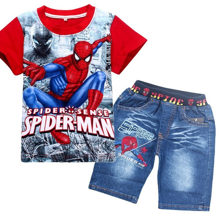 fashion cartoon children summer shirt jeans shorts set,baby toddler boys tees pant suit RED 110