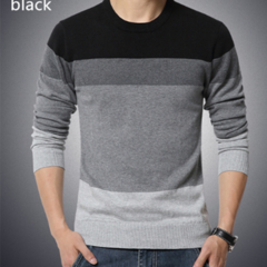 Autumn Casual Men's Sweater O-Neck Striped Slim Fit Knittwear Mens Sweaters Pullovers Pullover BLACK M