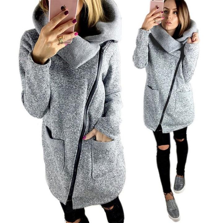 Women Winter Coats Long Oblique Zipper Jacket Autumn Sweater Coat Damen Warm Sweaters gray S