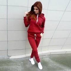 Autumn-winter Women's Fashion Sport Suit Fleece Hoodie Tracksuit for Women RED S
