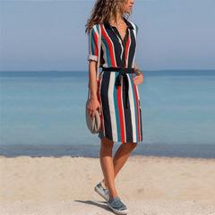 New lapel long sleeve dress shirt skirt stripe loose belt casual office fashion plus belt xxl 01