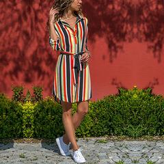 New lapel long sleeve dress shirt skirt stripe loose belt casual office fashion plus belt l 03