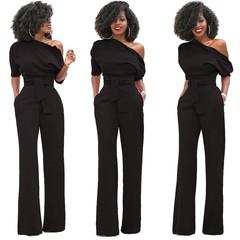 Women's fashion hot single shoulder slanted shoulder solid color jumpsuit wide leg long style jumpsuit belt belt