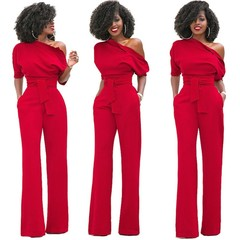 Women's fashion hot single shoulder slanted shoulder solid color jumpsuit wide leg long style jumpsuit belt belt