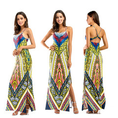 Fashionable African print traditional dress casual party dress strapless dress xxl 01