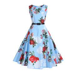 Fashion Women Vintage Printing Bodycon Sleeveless Casual Evening Party Prom Swing Dress l light blue