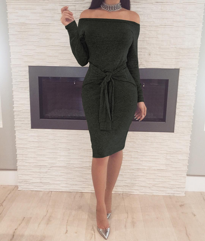 Women's off-the-shoulder dresses sexy long-sleeved dresses belted pencil skirts xxl black