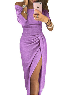 Ladies' dress with slits in the buttocks, slit neckline, sparkling dress dress, dinner dress 5xl light purple