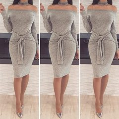 Women's off-the-shoulder dresses sexy long-sleeved dresses belted pencil skirts xxl light gray