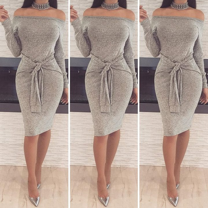 Women's off-the-shoulder dresses sexy long-sleeved dresses belted pencil skirts l light gray